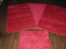 ROMANY GYPSY WASHABLES 4PC SET NON SLIP TRAVELLERS MATS PLAIN RED THICK PILE NEW